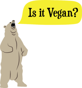 "Design for vegan t-shirt design with bear saying, ""Is it Vegan?"""