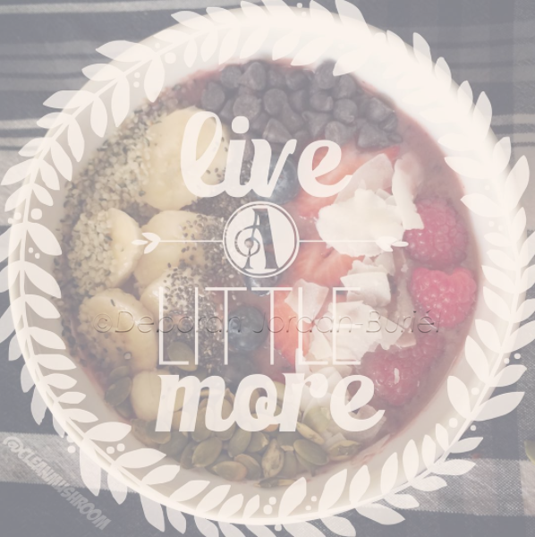 image of smoothie bowl with words